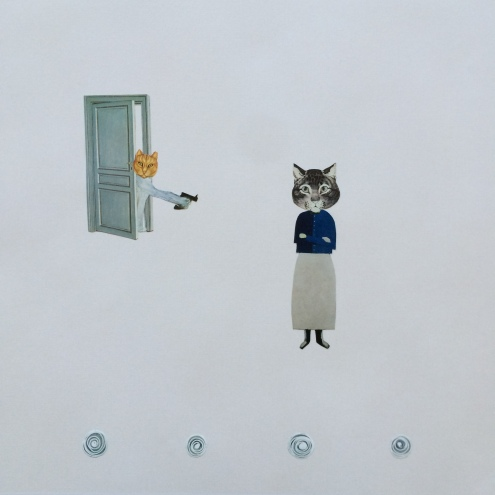 "THE IMPASSIVITY OF CATS - 12"" x 12"" hand-cut collage. If cats were human they would have no qualms about doing each other in, oddly that is part of their charm."