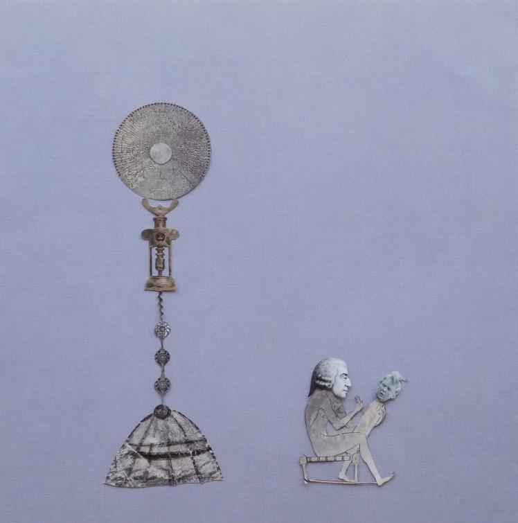 "ADAM SMITH FASHIONS A DEMAGOGUE (12"" x 12"" hand-cut collage)"