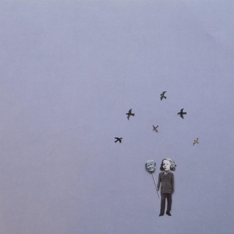 "MASQUERADE (12"" x 12"" hand-cut collage)"