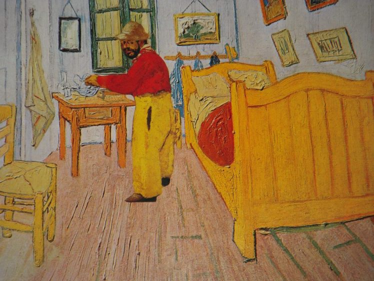 TOULOUSE-LAUTREC IN THE YELLOW HOUSE (hand-cut collage - paper on paper)