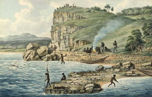 Joseph Lycett c1817 - 'Aborigines spearing fish'